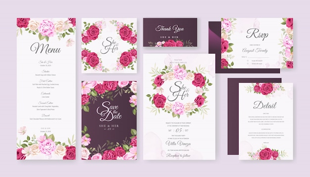 Cartão de casamento conjunto modelo com floral bonito e folhas