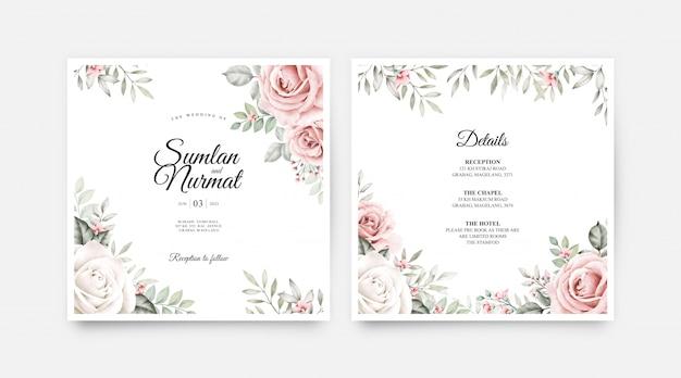 Cartão de casamento conjunto modelo com flores e folhas em aquarela