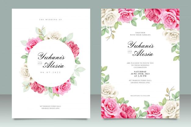 Cartão de casamento conjunto modelo com flores rosas