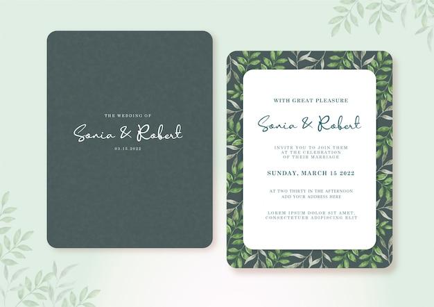 Cartão de casamento conjunto modelo com lindas folhas verdes em aquarela