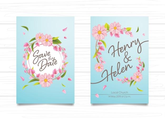 Cartão de casamento convite design floral rosa sobre fundo azul degradê