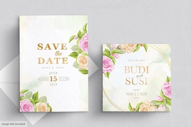 Cartão de casamento cravejado de flores rosa