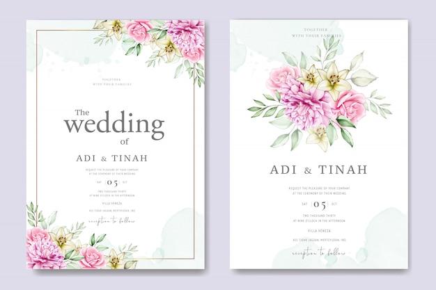 Cartão de casamento da aguarela conjunto modelo com lindas florais e folhas