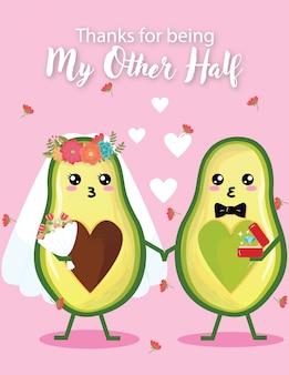 Cartão de casamento de convite dia de casamento de abacate bonito