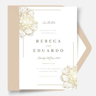 Cartão de casamento de flores douradas
