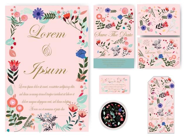 Cartão de casamento de flores e tag