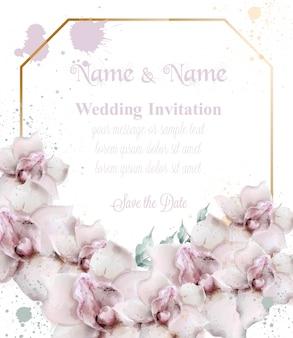 Cartão de casamento de flores em aquarela de orquídea