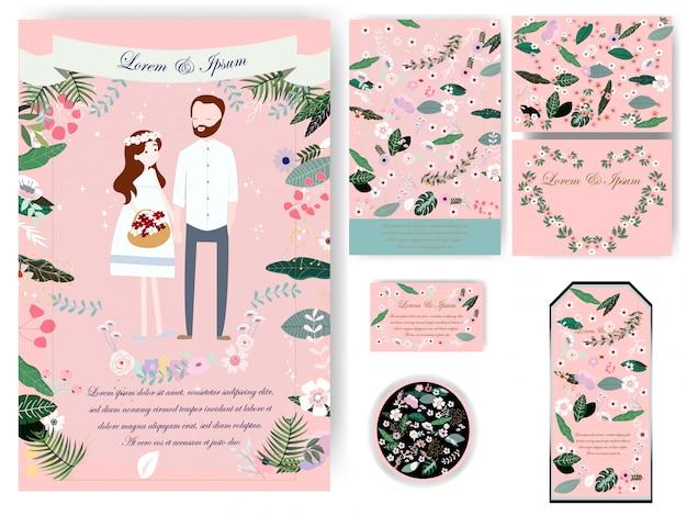 Cartão de casamento de folhas coloridas e tag