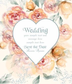Cartão de casamento de forma de coração com flores em aquarela