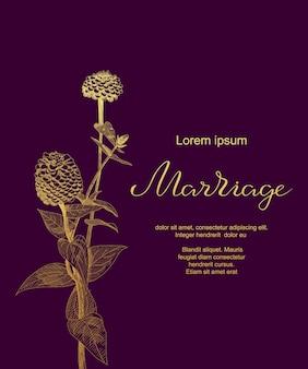 Cartão de casamento de luxo com zinnia sketch flores, folhas. modelo de cartão de casamento.