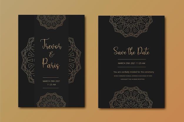 Cartão de casamento de luxo preto com design de mandala ornamental dourada