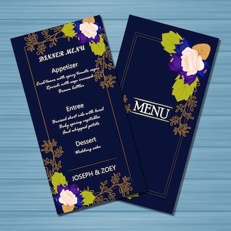 Cartão de casamento de menu floral com flores de outono