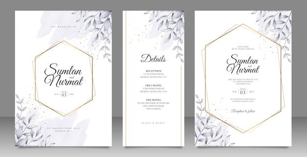 Cartão de casamento de moldura geométrica dourada conjunto modelo com folhas em aquarela