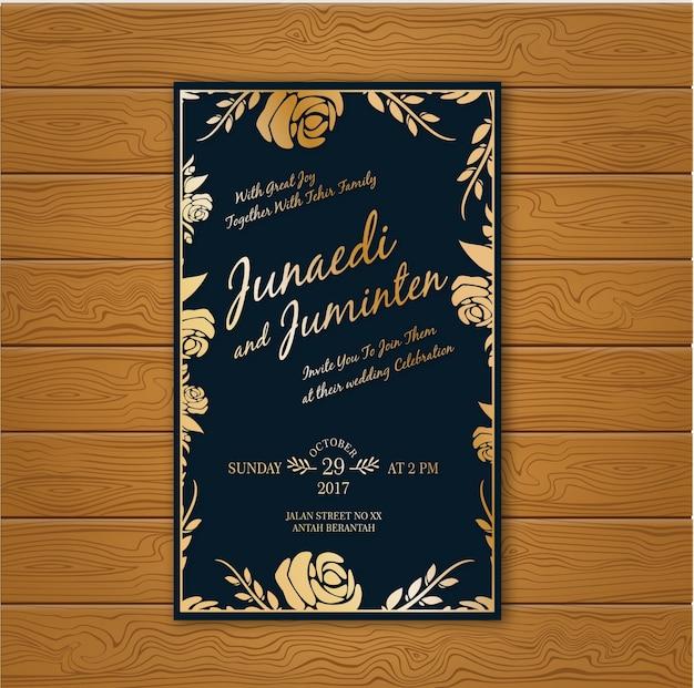 Cartão de casamento de ouro e azul