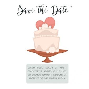 Cartão de casamento de vetor com bolo