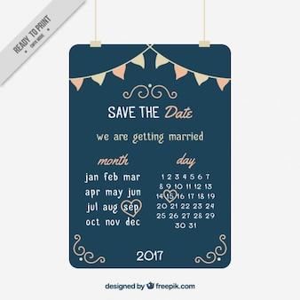 Cartão de casamento decorativo com calendário