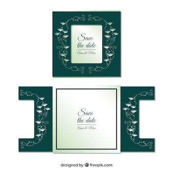 Cartão de casamento decorativo com corte a laser
