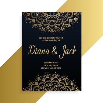 Cartão de casamento decorativo estilo mandala design de estilo indiano