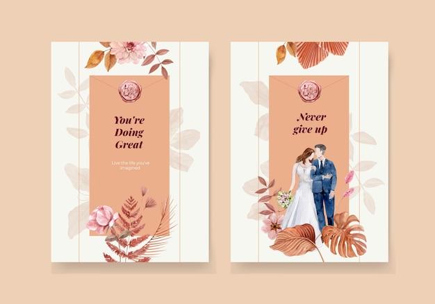 Cartão de casamento definido em estilo aquarela