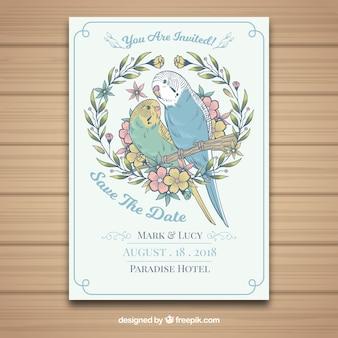 Cartão de casamento desenhado à mão com papagaios