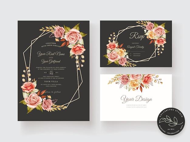 Cartão de casamento desenhado de mão