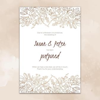 Cartão de casamento design mão desenhada