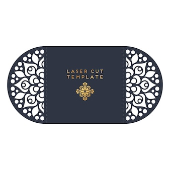 Cartão de casamento do vetor modelo de corte a laser design de elementos decorativos vintage