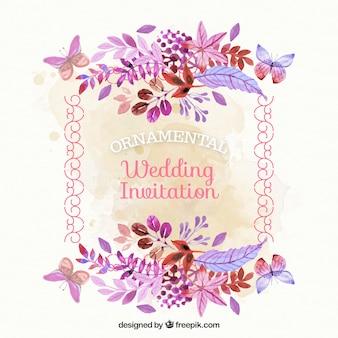 Cartão de casamento do vintage com flores da aguarela