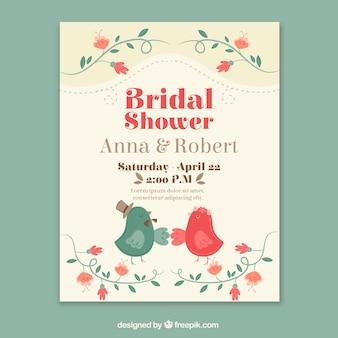 Cartão de casamento do vintage com pássaros