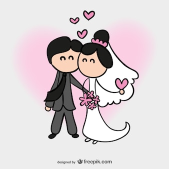 Cartão de casamento dos desenhos animados