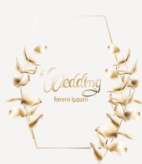 Cartão de casamento dourado com moldura