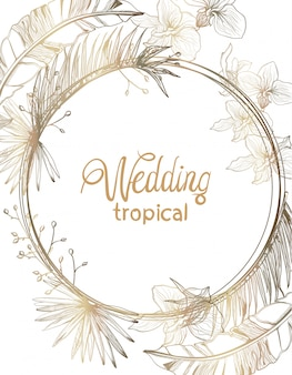 Cartão de casamento dourado flores tropicais da linha arte. decorações de quadro floral verão