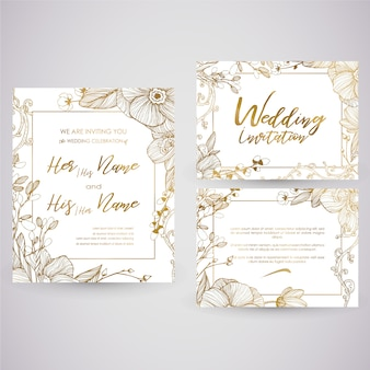 Cartão de casamento dourado