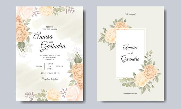 Cartão de casamento e cartão de convite com lindas rosas e modelo de flor