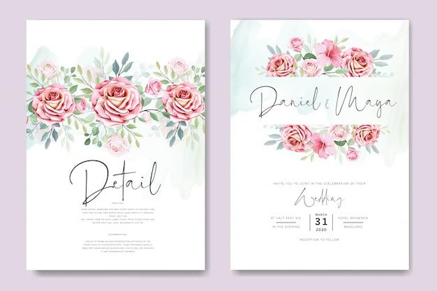 Cartão de casamento e cartão de convite com lindas rosas modelo
