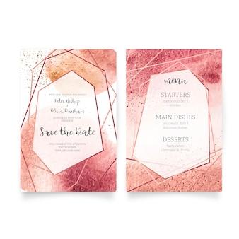 Cartão de casamento e modelo de menu