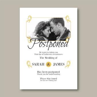 Cartão de casamento elegante adiado com foto