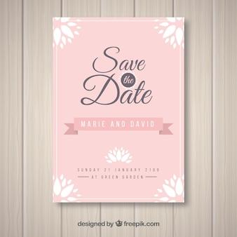 Cartão de casamento elegante com design plano