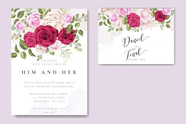 Cartão de casamento elegante com floral e deixa o molde