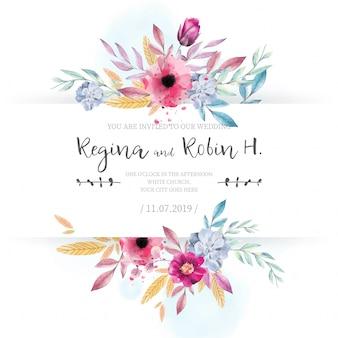 Cartão de casamento elegante com flores da aguarela