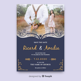 Cartão de casamento elegante com foto