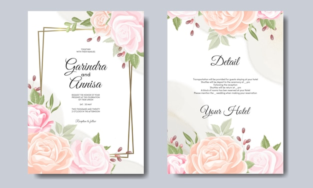Cartão de casamento elegante com lindo modelo floral e de folhas vetor premium