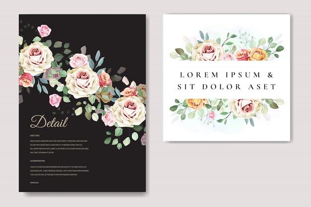 Cartão de casamento elegante com lindo modelo floral e folhas