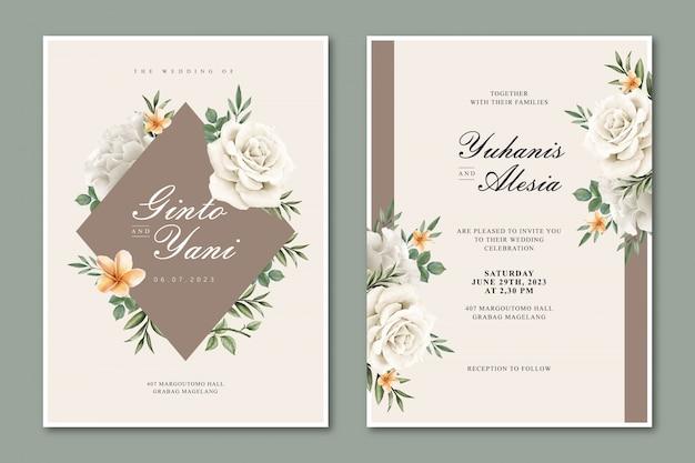 Cartão de casamento elegante com moldura floral multiusos