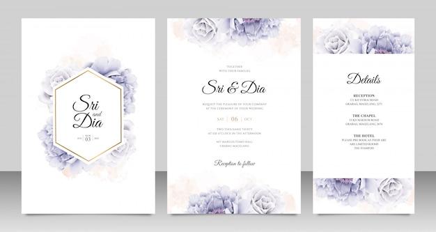 Cartão de casamento elegante conjunto com aquarela de peônia