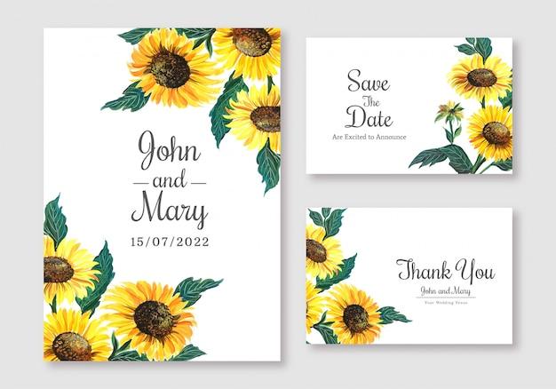 Cartão de casamento elegante conjunto de design de modelo
