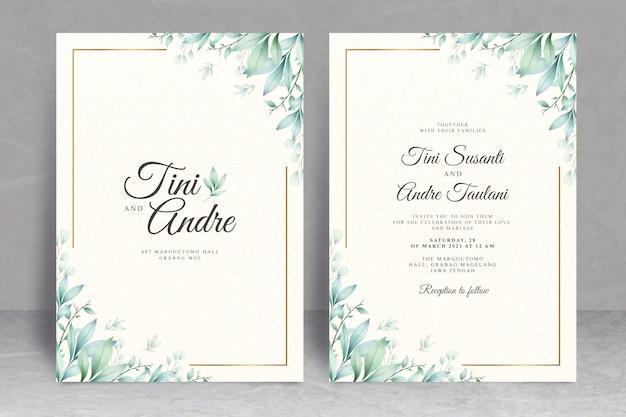 Cartão de casamento elegante conjunto modelo com folhas em aquarela