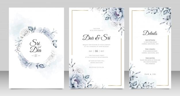 Cartão de casamento elegante conjunto modelo com peônia aquarel