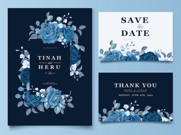 Cartão de casamento elegante coroa de flores