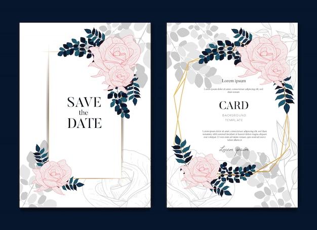Cartão de casamento elegante lindo e convite
